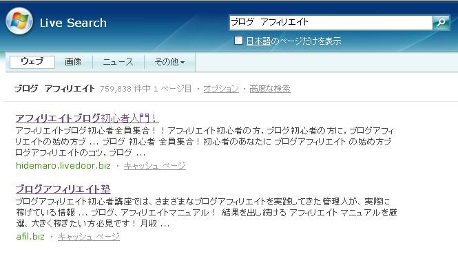 アフィリエイトブログ初心者入門! MSN検索「ブログ アフィリエイト」で1位!^^